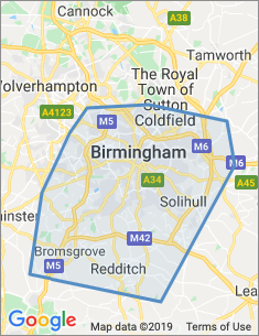 Area covered by Birmingham branch