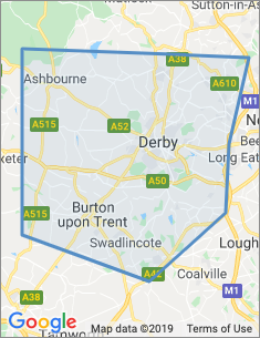 Area covered by Derby branch