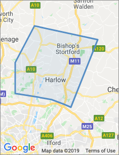Area covered by Harlow branch