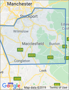 Area covered by Macclesfield branch