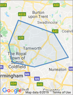 Area covered by Tamworth branch