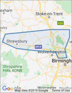 Area covered by Walsall and Stafford branch
